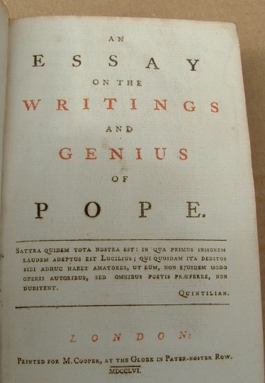 Image for An Essay on the Writings and Genius of Pope