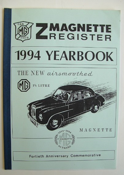 Image for MG Car Club Z Magnette Register 40th Anniversary Yearbook 1954-1994