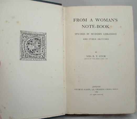 Image for From a Woman's Note Book Studies in Modern Girlhood